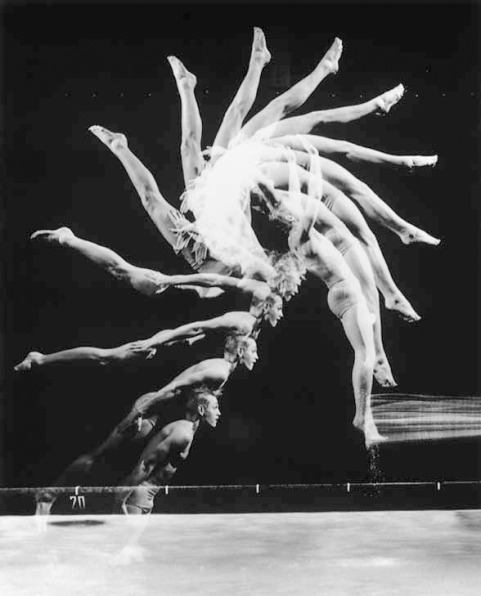"Stroboscope image, taken in 1954 by ""Visionary Engineer"", Harold ""Doc"" Edgerton: Multiflash reveals the magnificent geometry of motion as a talented diver, Burt West, flips backwards ina procedure that lasted less than half a second..."""