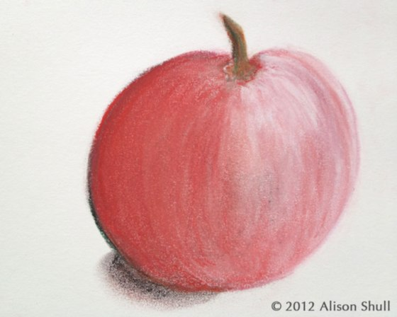 Apple_Pastel drawing by Alison Shull