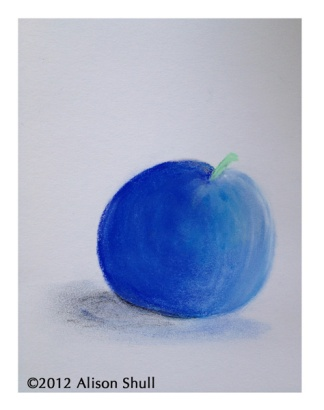 Blue Apple, pastel drawing by Alison Shull