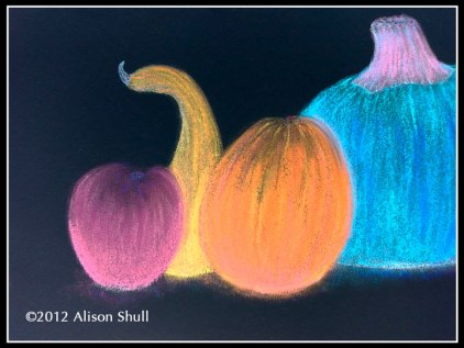 """Harvest Row"", Digital Color Inversion of pastel drawing by Alison Shull"