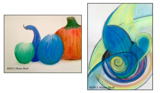 Harvests, pastel drawings by Alison Shull