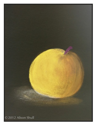 Apple inverted to Lemon, pastel drawing by Alison Shull