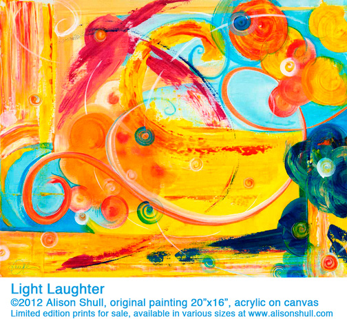 "Light Laughter by Alison Shull, original painting 20""x16"", acrylic on canvas"