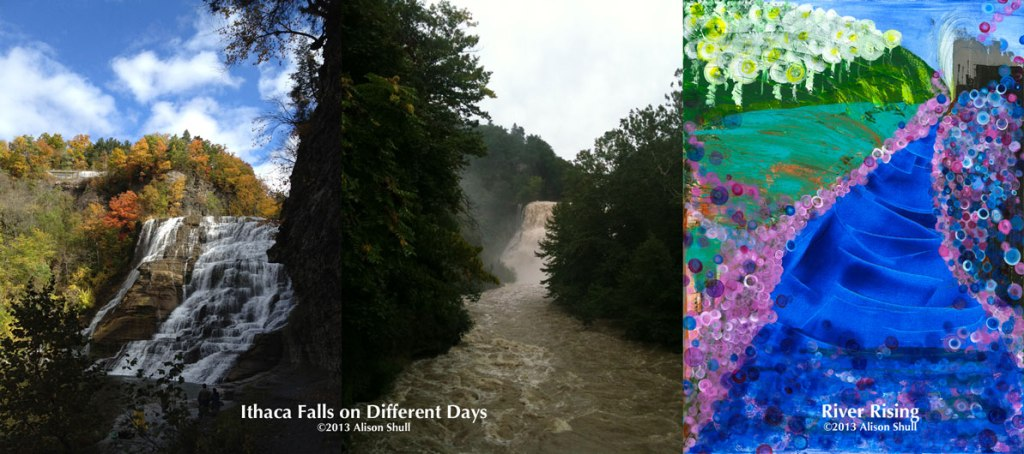 Ithaca Falls on Different Days With River Rising