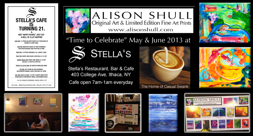 Alison Shull Art at Stella's Cafe Ithaca NY May & June 2013