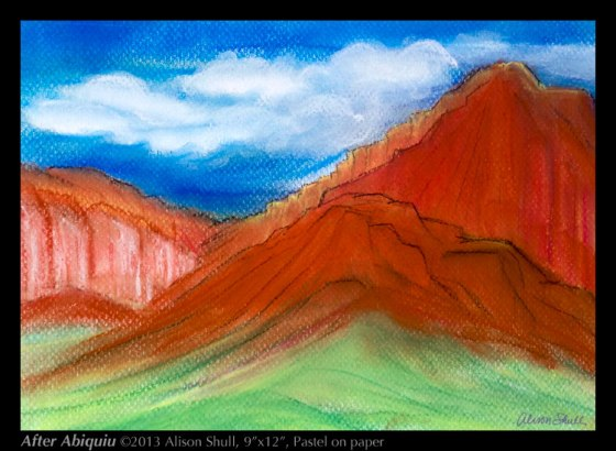 After Abiquiu, a painting by Alison Shull, pastel on paper