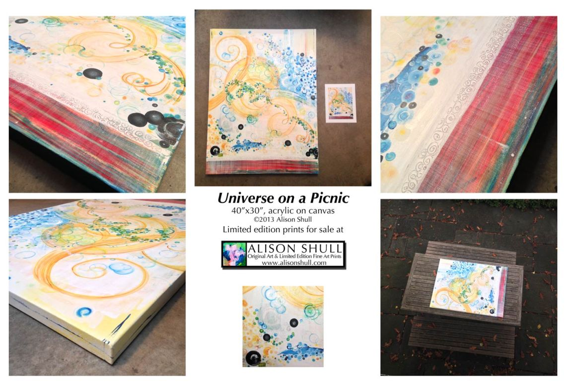 Universe on a Picnic - Close Ups of original painting by Alison Shull