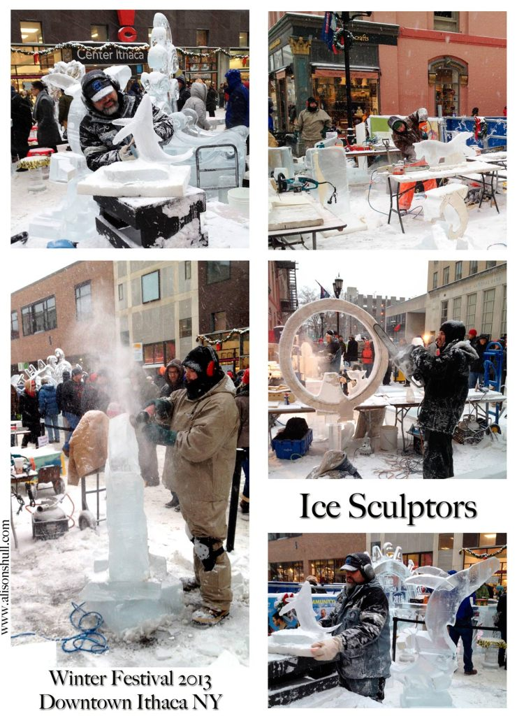 Ice Sculptors in action at the 2013 Winter Festival Ithaca NY - photos by Alison Shull