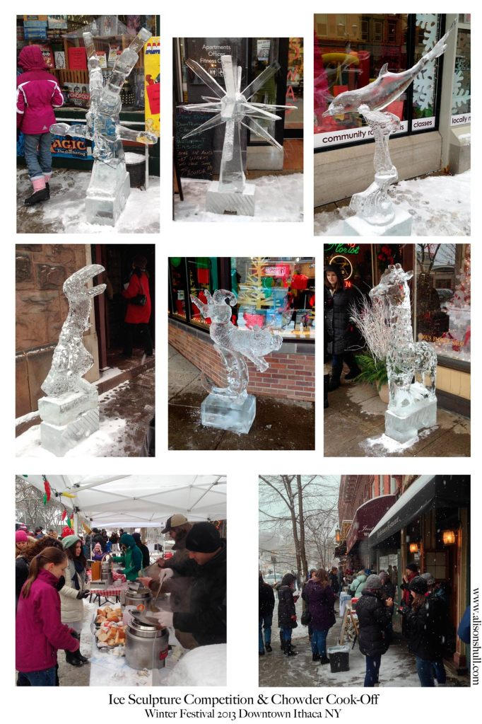 Ice Sculptures and Chowder Cook Off at the 2013 Winter Festival in Ithaca NY - photos by Alison Shull
