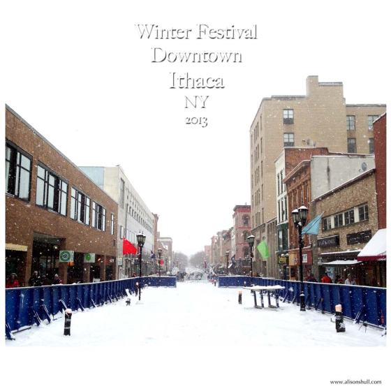 The Ithaca Commons looking west during 2013 Winter Festival - photos by Alison Shull