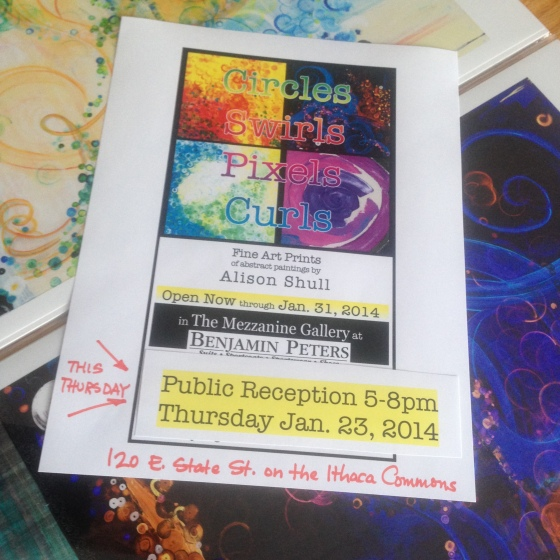 Extra Bonus Reception for Circles Swirls Pixels Curls - an artshow of work by Alison Shull, Ithaca NY