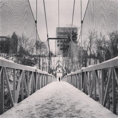 Ithaca Winter 2014 - Cornell Suspension Bridge, Photograph by Alison Shull