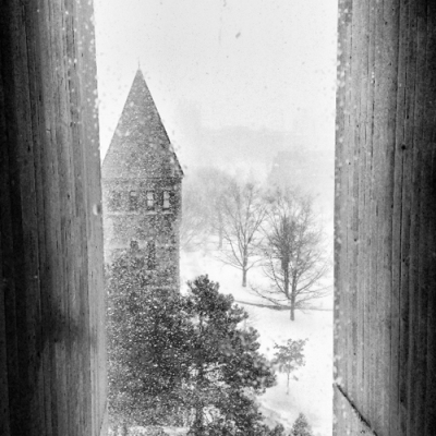 Winter 2014 in Ithaca NY - view east from inside Cornell Art Museum