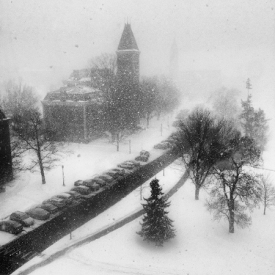 Winter 2014 in Ithaca NY - view from Cornell University Museum of Art - photograph by Alison Shull